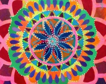 Acceptance Mandala. Prayers for Venezuela. Acrylic on wood. 8 x 8 x 1.5 inches