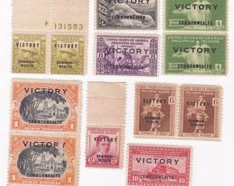 8 World War II Victory Overprint US/Philippines Postage Stamps