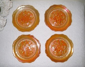 "Jeanette Glass Marigold Saucers, Set of 4, Iris and Herringbone Iridescent Carnival Glass, Scalloped Edge, 5 1/2"", MINT"