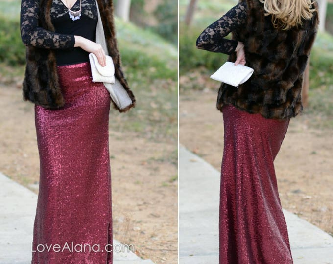Free Shipping! Wine Maxi Sequin Skirt - Gorgeous high quality sequins (S,M,L,XL)