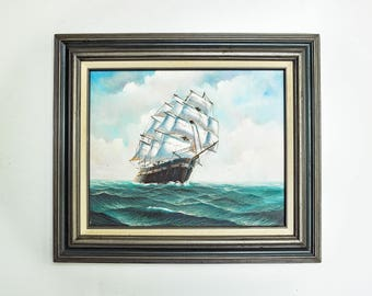Vintage Framed Seascape Ship Painting - Signed Lawrence