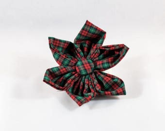 Holiday Cheer Christmas Plaid Red and Green Girl Dog Flower Bow Tie