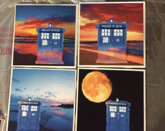 Dr who coasters, dr who, tardis, police box, coaster set