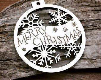 Ready to Ship - Merry Christmas - Customizable Christmas Ornament - Engraved Birch Wood Ornament