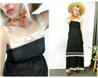Vintage 1970s Black Boho Maxi Dress size Small