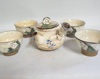 Antique cup set 4927, over glaze enamel, kyusu and cups