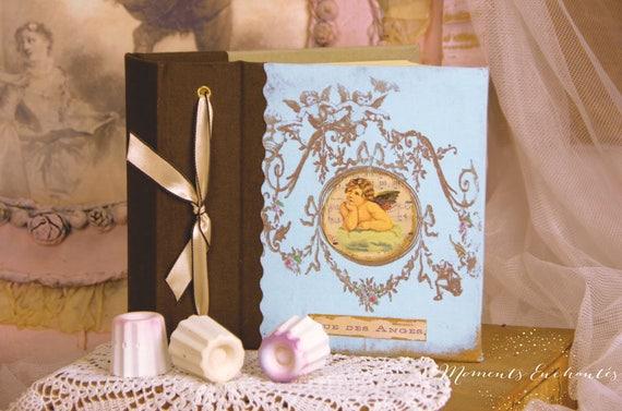 "Saint Valentin Album photo Baptism new born ""blue angel "" blue and brown  vintage style"