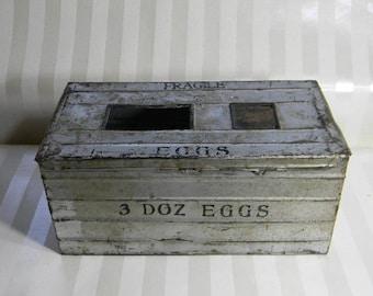 Farmhouse Primitive Metal Shipping Egg Crate