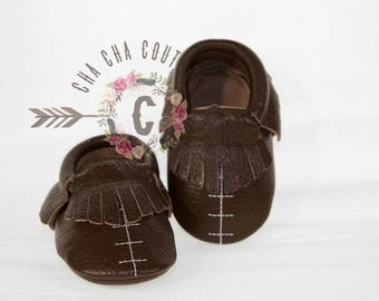 SALE WOW! Football Moccasins 100% genuine leather baby moccasins Mocs moccs top quality, first birthday,