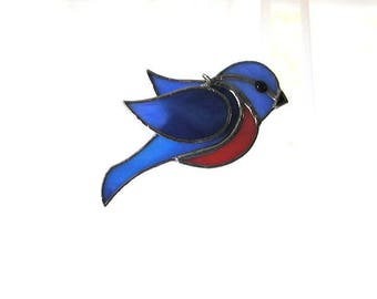 Robin Suncatcher, Stained Glass Bird, Art & Collectibles,Glass Art, Glass Wings, Feathers, Handmade Decorative Bird, Handmade, Window Decor