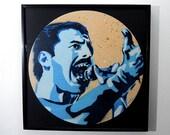 "Freddie Mercury of Queen stencil portrait art vinyl on reclaimed 12"" record"