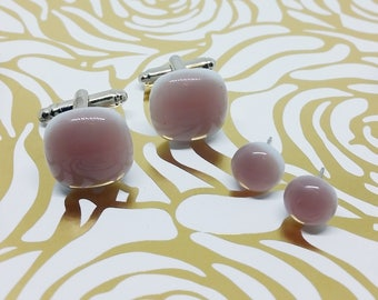 Light Violet Matching Glass Cuff Links and Earrings, Wedding, Prom or Formal Attire