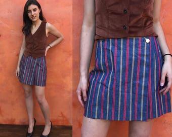 Vintage 1970s Lady Wrangler Sportswear Striped Jean Mini Skirt Shorts Skort. Boho hippie gypsy. small medium