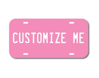 Plastic License Plate Custom Pink Car Tag Custom Personalized Vehicle Business Logo Monogram