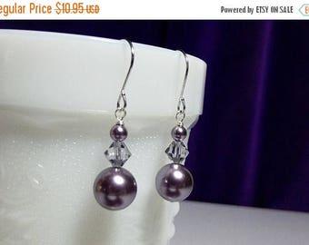 30% OFF SALE thru Sun Swarovski Mauve Purple Pearl Crystal Drop Earrings, Christmas Gift Mother Wedding Bridesmaid Gift Mom Birthday Gift Si
