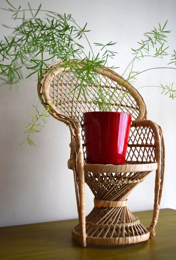 Vintage Wicker Peacock Chair Plant Stand -  Bohemiam, Natural, Earth Inspired, Eclectic