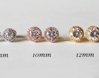 Bridesmaids earrings, Rose gold round Cubic Zirconia earrings, Bridesmaids crystal earrings, Gold bridal earrings, Wedding party gift