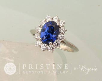 1.93ct Blue Sapphire Diamond Halo Engagement Ring Kate Middleton Style Ring