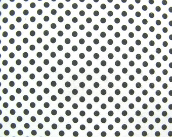 Flannel Fabric by the Yard in a Black on White Polka Dot Print 1 Yard
