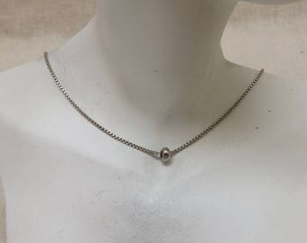 Minimalist Sterling Silver Bead Necklace, Vintage, 20 inches