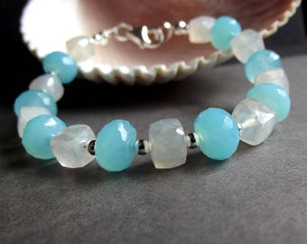 RESERVED for CAROL:  Aqua Blue and White Chalcedony Bracelet, Sterling Silver, 8 inch