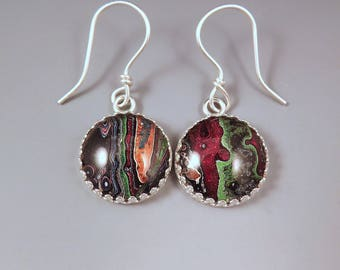 Fordite Earrings- Unique Colors and Pattern- Detroit Agate- Michigan Made- Sterling Silver Drop Earrings-Larger Size