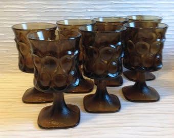 """7 Noritake Spotlight,  Glass, Glasses. 6""""  Brown Goblets. Mid century modern, Danish Modern, Eames era."""