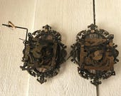 Vintage cuckoo clock industrial assemblages wall decor gears in frame embellished steampunk/ free shipping US