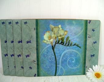 Blue Pimpernel Placemats Set of 4 Large Laminated Cork Board Mats Realistic Gladiolus Flowers & Boho Shabby Chic Cottage Decor Tableware Mat