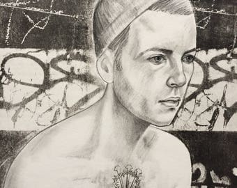 Original charcoal drawing Portrait Drawing Gay Male with Thorn & Scared Heart Tattoo in an Abstract Urban Setting.