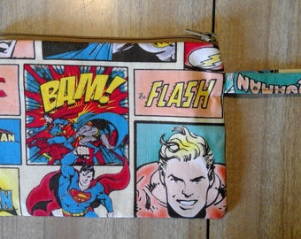 Superhero zip wallet, make up purse, pouch, travel, loop handle, carrier, wrist strap Superman, Batman, Aquaman,The Flash