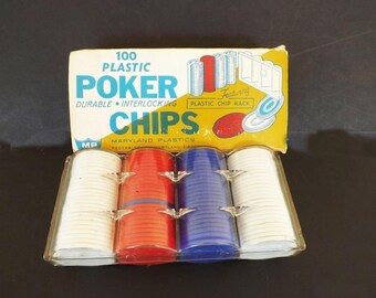 Vintage Poker Chips, Original Box, Vintage Game  Pieces, Maryland Plastics, Poker Chip Tray, Gambling Card Came, Adult Game, New Old Stock,