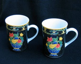 Pair of Victoria & Beale Napoli 9030 Porcelain Mugs.