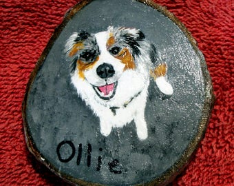 Pet portrait ornament, Maple wood ornament, custom painted ornament, Appalachian painter, rustic ornament, Christmas, mini painting,