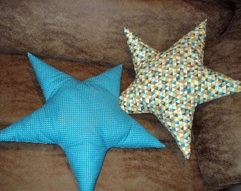 Taupe cushion fabric star patterned geometric front and plain fabric back