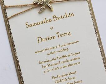 Rustic Sparkling Starfish Wedding Invitation; Rhinestone Buckle; Rhinestone Starfish Brooch; Twine