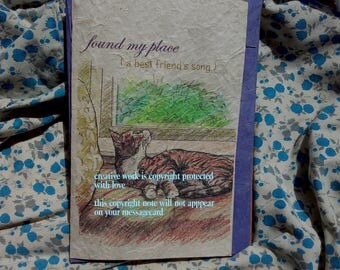 found my place / tabby gray and white cat/cat on bed/ love my cat/personalize/storybook/sentimental/unique empathy condolence/pet sympathy