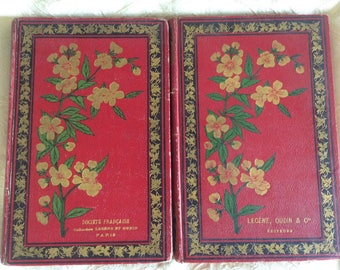 Set of 2  French 1892 Classic Literature and History Books with very attractive covers