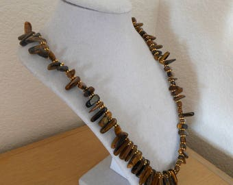 Tigers Eye Treasure/Genuine tigers eye stick beads with gold accents/womens tigers eye stick bead necklace/tigers eye statement necklace