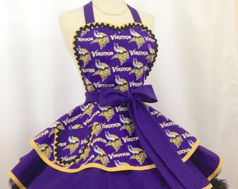 Vikings Football Pin Up Apron - Get Ready to Tailgate, Ready To Ship, NFL Sports Fan, Tailgate Hostess