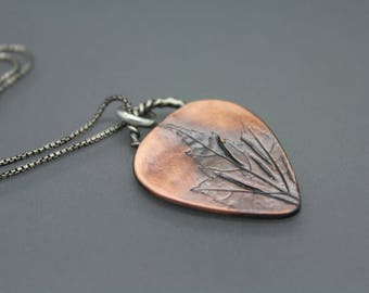 Guitar Necklace, Guitar Pick, Copper Pick, NC Pendant, NC Leaves, Leaf Jewelry, Leaf Necklace, Copper And Silver, Copper Pendant