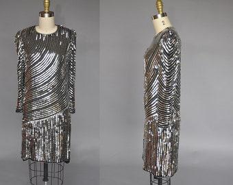 vintage sequin gown | 80s silver sequin dress | judith ann sequin dress | sequin mini dress XS