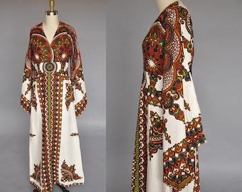 70s vintage kaftan | vintage african dashiki | vintage boho dress | 70s maxi dress | angel sleeves S/M