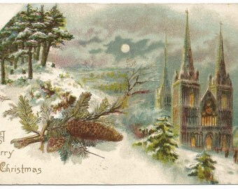 Gorgeous Cathedral in the background of Moonlit Night Scene Wood Hills with Evergreen & Pine Cones Vintage Postcard Christmas