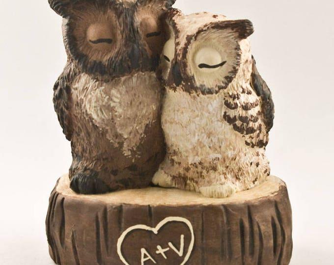 Great Horned Owl Love on a Stump Custom Wedding Cake Topper