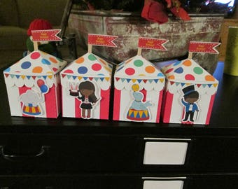 Circus Tent Favor Boxes with African  American  Characters Set of 12 in 2 Sizes with Free Shipping