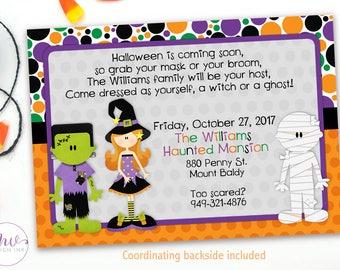 Halloween Invitation Kids, Halloween Birthday Invitation, Halloween Costume Party, Costume Party Birthday Invitations, Kids Halloween Party
