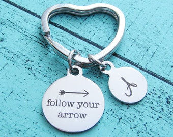 follow your arrow keychain, inspirational gift, adventure graduation gift, best friend gift for sister, encouragement for him, moving away