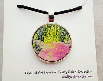 Mini Painting Pendant Original Abstract Art Wearable Art Necklace 3378