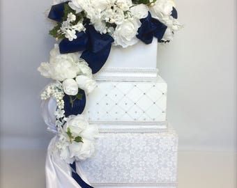 Private Listing for Candace Wedding Card Box Royal BlueWhite Lace Envelope Holder Wedding Card Holder Secured Lock Card Box Handmade